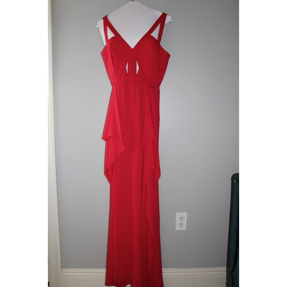 BCBGMaxAzria Dresses & Skirts - BCBG Cut out Red-Pink Gown